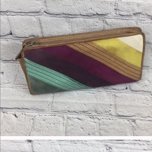 Fossil multi colored leather Billfold Wallet